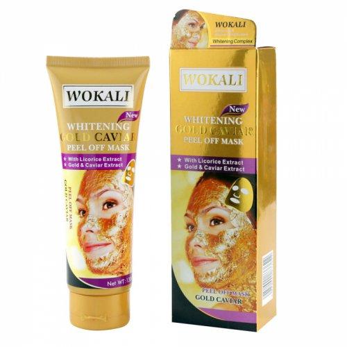 Masca de fata cu Caviar, Particule de Aur 24K si Colagen, Efect Intinerire si Anti Sebum, Wokali Gold Caviar Whitening, 130 ml