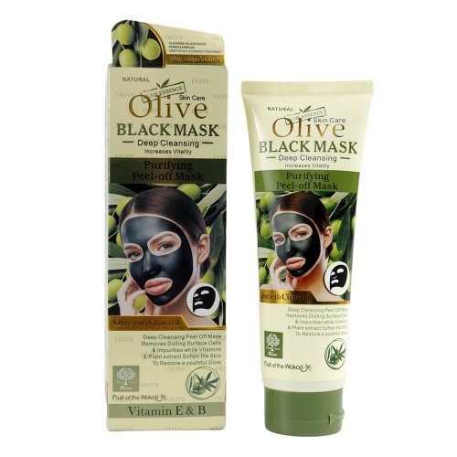 Masca de fata cu Carbune Activ, Masline si Vitamina E & B, Efect Intinerire, Fruit of the Wokali Olive BLACK Mask, 130 ml