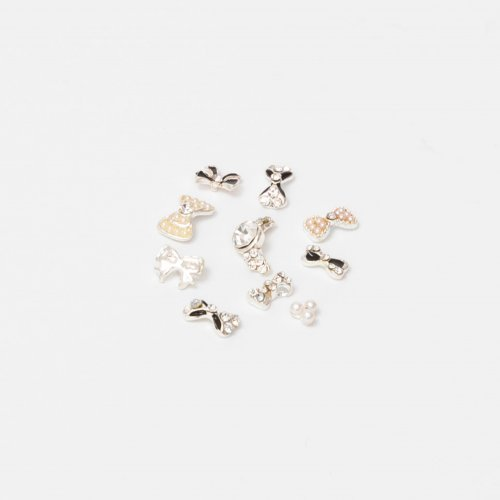 Ornamente unghii, diferite forme, argintii